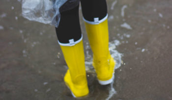 Boots walking in flood
