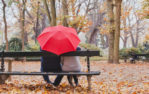 Umbrella Insurance, couple on bench, Sprouse